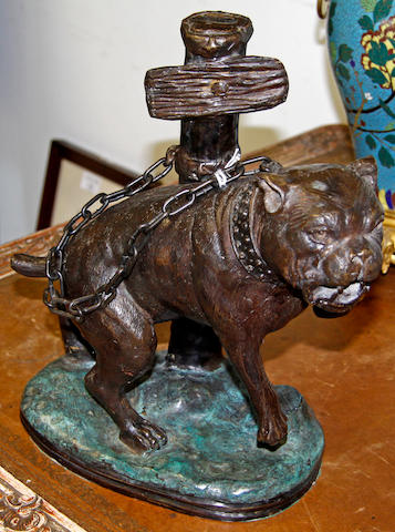 A bronze figure of a Staffordshire bull terrier,