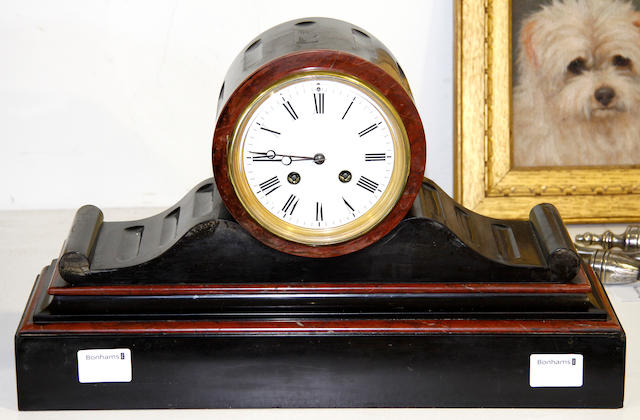 A French late 19th century  slate and onyx mantle clock
