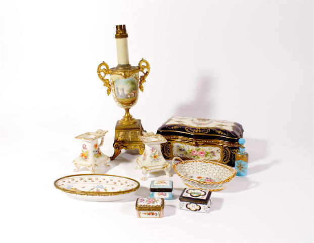 A French earthenware and gilt metal mounted box, a small Meissen basket and other continental porcelain, late 19th-early 20th century