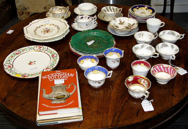 A group of mainly Rockingham tea wares and two reference books