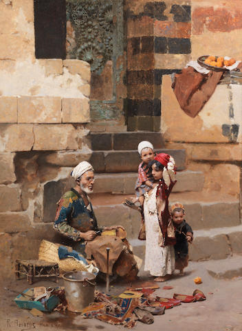 Raphael von Ambros (Austrian, 1855-1895) The old shoe maker, Cairo