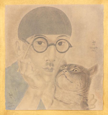 "Léonard Tsuguharu Foujita (Japanese/French, 1886-1968) Self-portrait with cat Jacomet print, 1926/27, with pochoir colouring, on wove, presented on a hand painted gilt mount, signed in English and Japanese, numbered 29/125 in pen and ink recto, inscribed and dedicated to ""Mr Alfred Schwarzchild, 17 Jan 1927 à Paris..."" verso, 235 x 220mm (9 1/4 x 8 5/8in)(SH)"