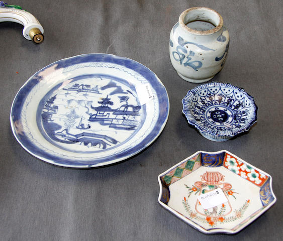 A Chinese blue and white jar, a plate and a dish and a Japanese Imari dish