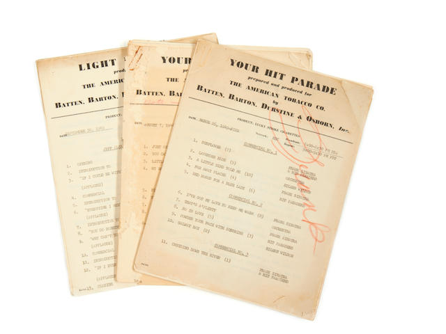 Frank Sinatra: a group of three radio show scripts,