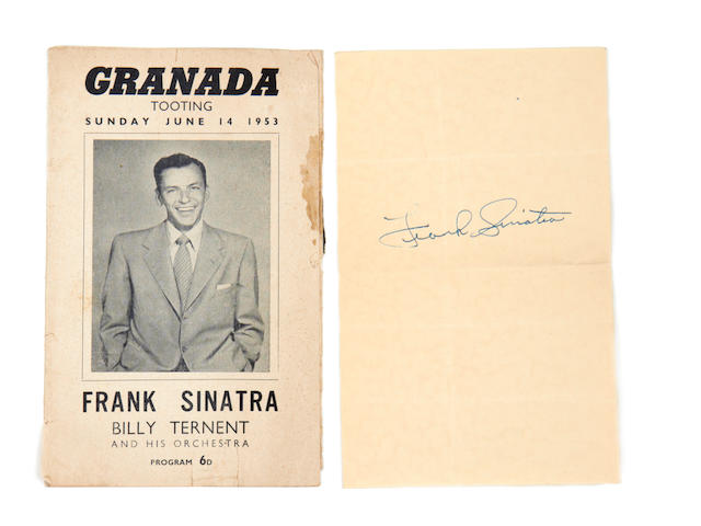 Frank Sinatra: A collection of ephemera and autographed memorabilia, including letters and period publicity stills, majority late 40s/early 50s,