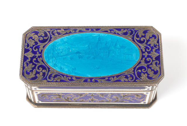 A Continental enamelled silver box