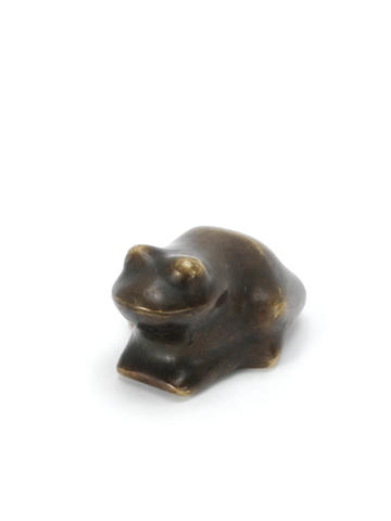 Karl Hartung (German, 1908-1967) Frog Sculpture, bronze with patina, with inscribed 'H' on the base, height 45mm (1 3/4in)