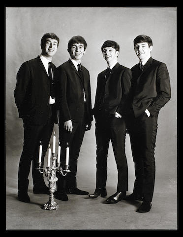 A photograph of the Beatles by Astrid Kirchherr,