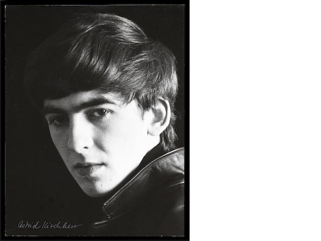 A photograph of George Harrison by Astrid Kirchherr,