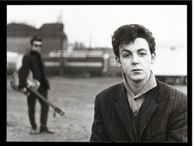 A photograph of Paul McCartney by Astrid Kirchherr,
