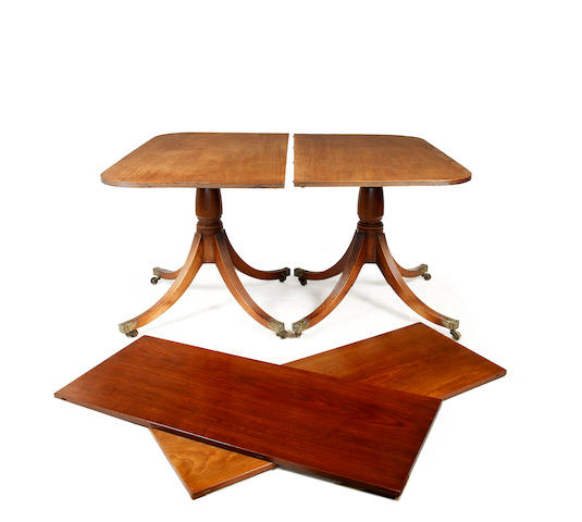 A George IV mahogany twin pedestal dining table