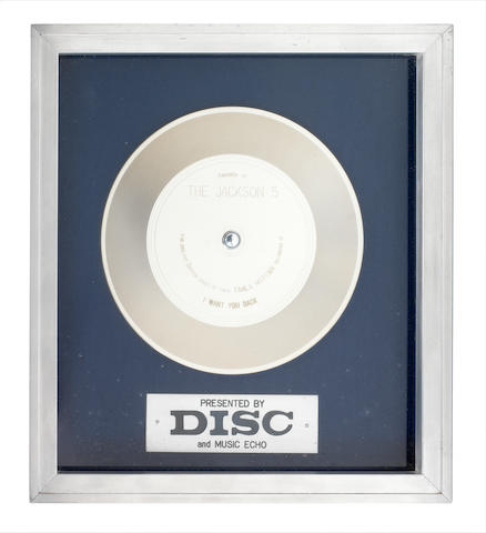 A 'Silver' sales award for the single 'I Want You Back' by the Jackson 5, circa 1970,