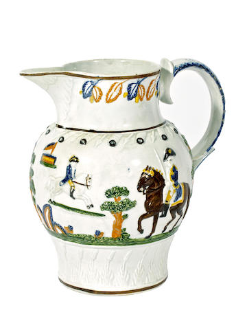 A Pratt Ware Military Review jug, circa 1800