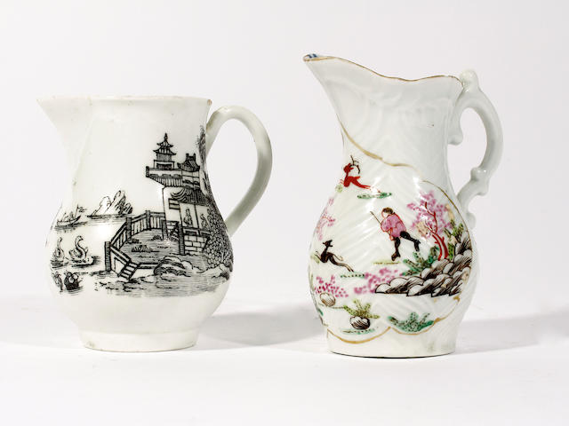 Two early Worcester jugs, circa 1755
