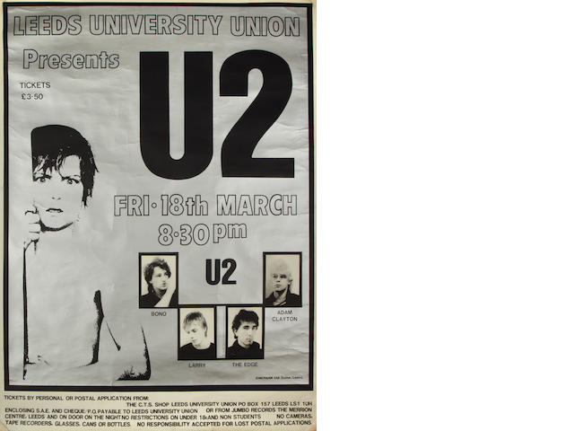 A poster for U2 at Leeds University,