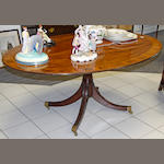 A good Sheraton revival rosewood and satinwood crossbanded breakfast table, 20th Century