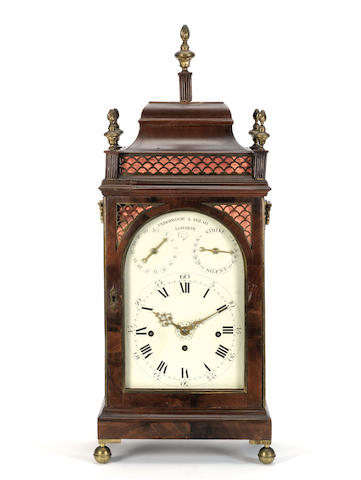 A late 18th century mahogany quarter chiming bracket clock with alarm Underwood and Imlah