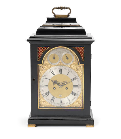 A third quarter of the 18th century ebonised bracket clock with pull quarter repeat Thomas Homesby, London