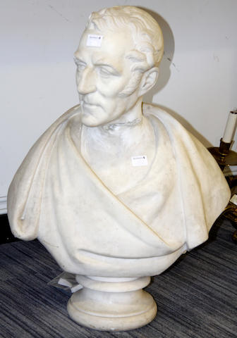 A 19th Century carved marble bust of the Duke of Wellington