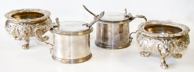 A pair of Hunt & Foskell silver salts and pair of plated mustards
