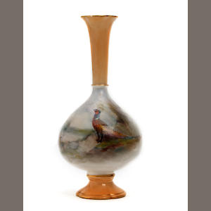 A Royal Worcester vase, painted by James Stinton Dated 1908