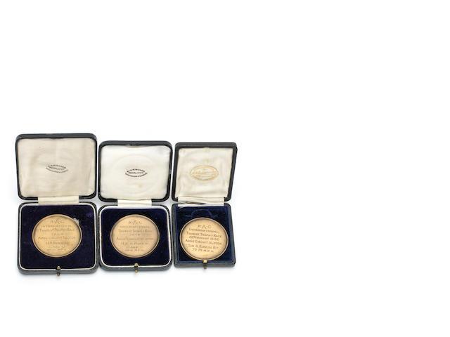 Three Royal Automobile Club International Tourist Trophy medals presented to Sir Henry Birkin,