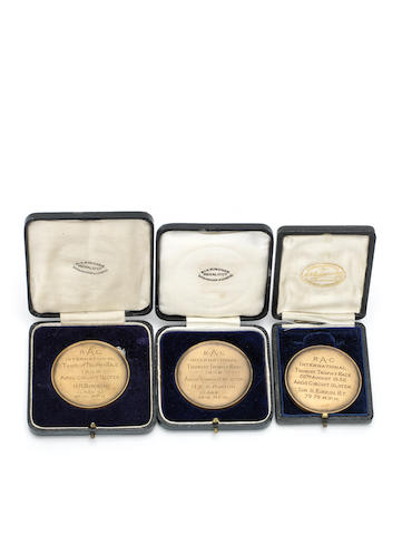 Three Royal Automobile Club International Tourist Trophy medals presented to Sir Henry Birkin,