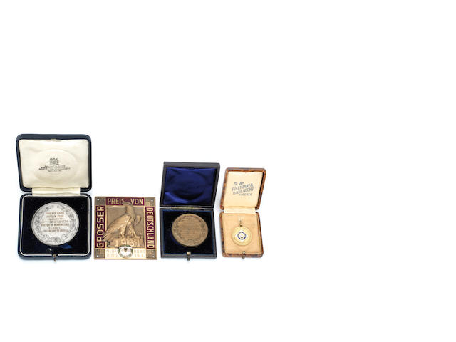 Four Motoring medals, formerly the property of Sir Henry Birkin,