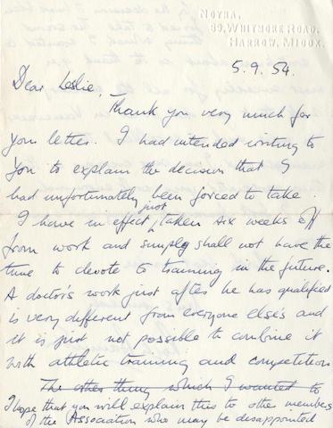Roger Bannister  - Signed Letter