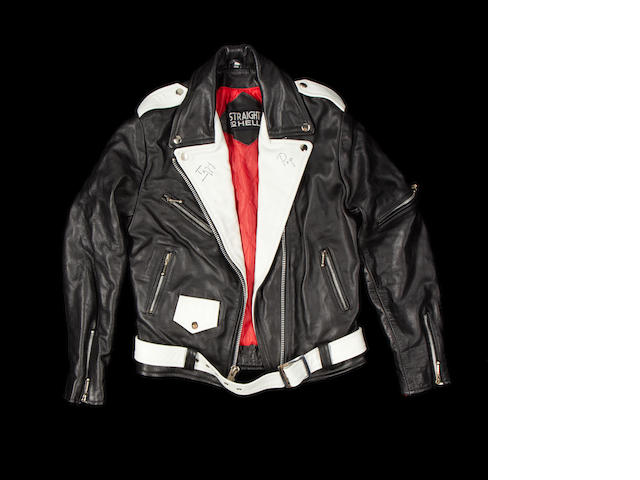 Iggy Pop's autographed leather jacket, as worn in a TV commercial,