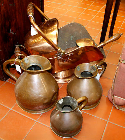 A set of three graduated copper measuring jugs19th Century