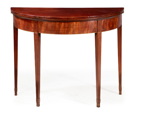 A George III mahogany demilune tea table