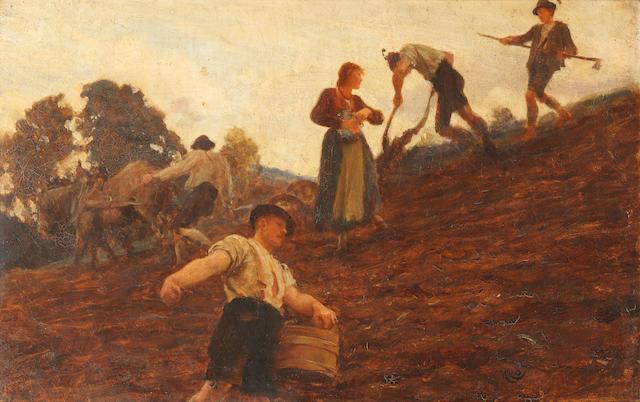 Sir Hubert von Herkomer RA, RWS, CVO (British, 1849-1914) Farm workers tilling and sowing a hillside