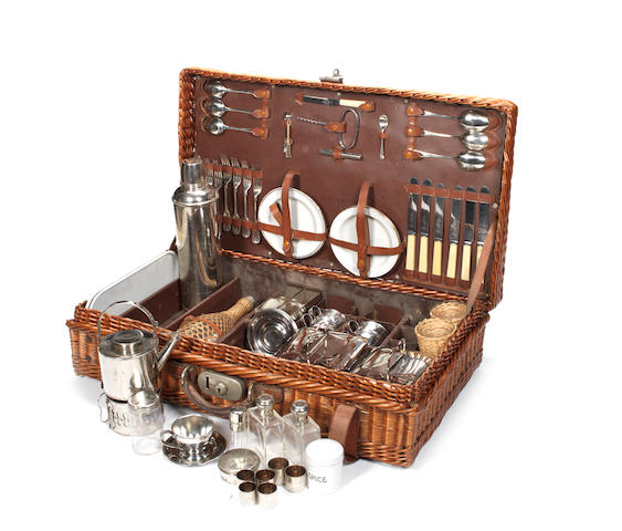 A wicker-cased picnic set for six-persons, by G W Scott & Sons,