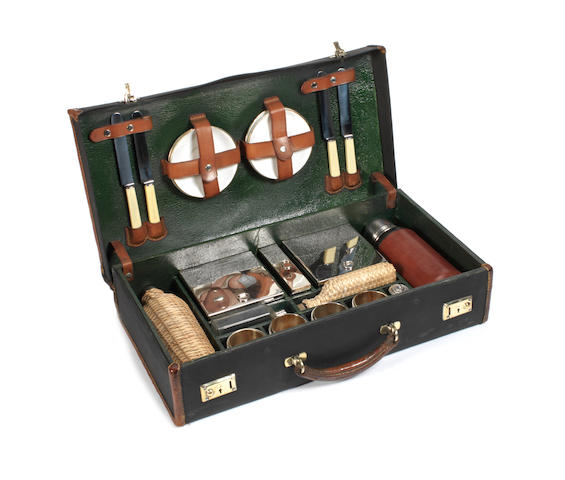 A cased picnic set for four persons, by John Bagshaw, 1920s,