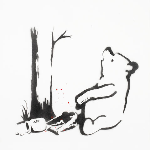 Banksy (British, born 1975) Winnie the Pooh 2003  signed Banksy in stencil (to the overlap)and numbered 7/25 (to the rear)  stencil spraypaint on canvas  51 by 51 cm. 20 1/16 by 20 1/16 in.