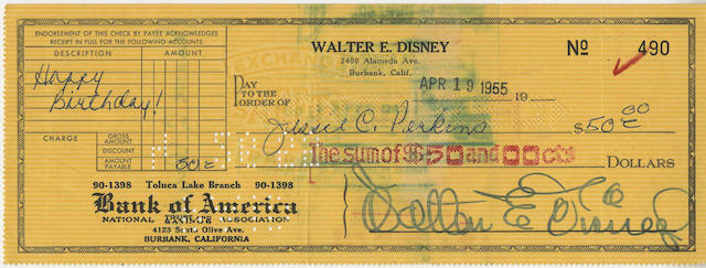 Walt Disney: A signed 'Walter E. Disney' cheque,  made out to his Aunt Jessie Perkins, dated April 19, 1955,