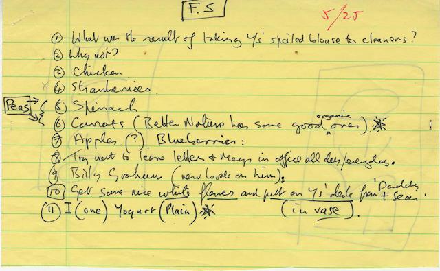 John Lennon: A handwritten 'To-Do' list,