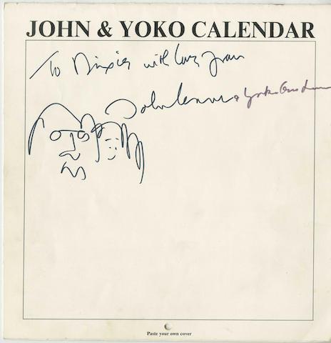 John Lennon & Yoko Ono: An inscribed calendar,  circa 1970,