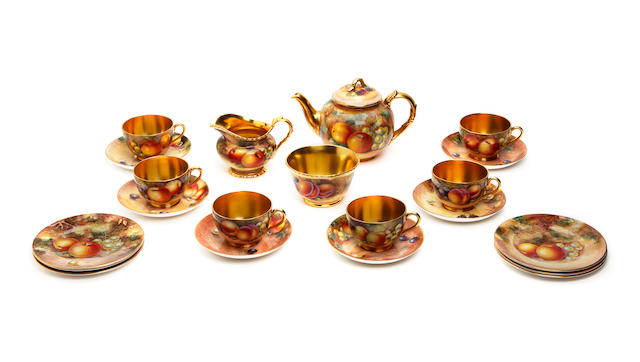 A Royal Worcester six piece fruit painted tea service, various artists Post War
