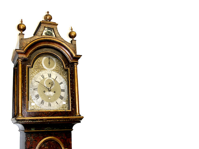 Samuel Cannon, London: A George II japanned longcase clock