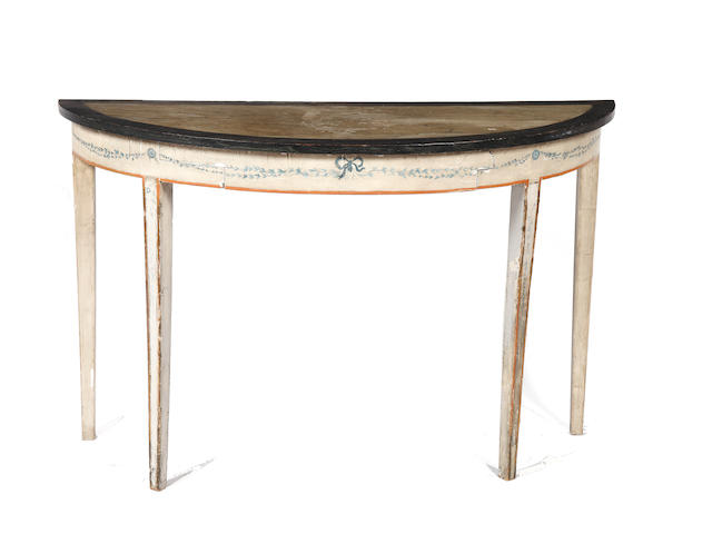 A polychrome decorated eliptical pier table 19th Century and later