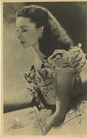 Vivien Leigh and Laurence Olivier: A pair of autographed postcards, 2
