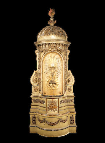 An impressive Italian early 19th century gilt and green-painted architectural shrine cabinet