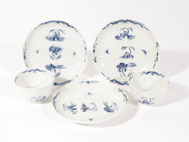 Two Worcester blue and white teabowls and three saucers, circa 1758