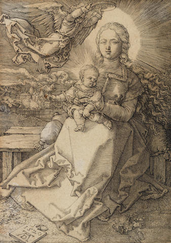 Albrecht Dürer (German, 1471-1528) Virgin and child with angel Engraving, 1520, on laid, trimmed just inside platemark,