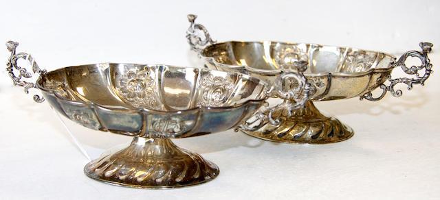 A pair of Victorian silver bon bon dishes