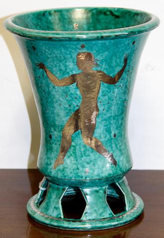 A Gustavesberg Art Deco flared cylindrical vase,