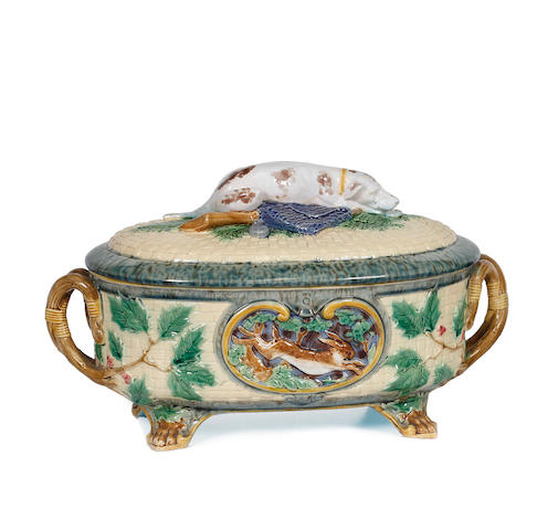 Another Minton Majolica Game tureen and cover, dated 1868
