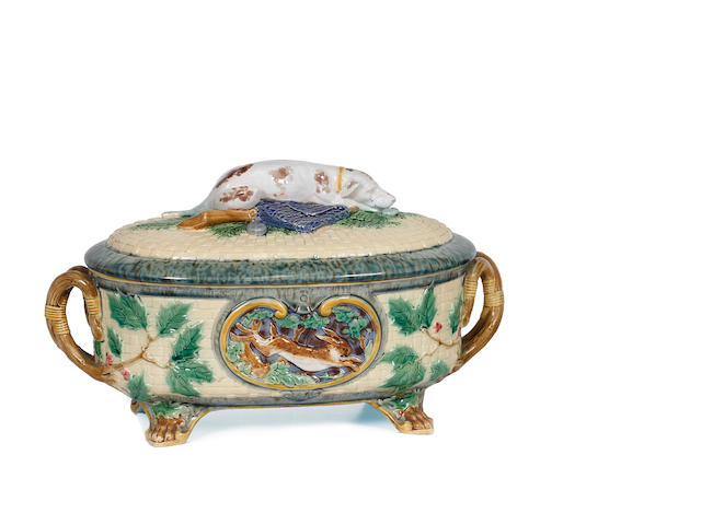 A Minton majolica oval twin handled game dish and cover 19th century